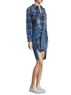 High-Low Plaid Cotton Shirtdress
