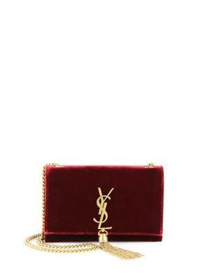 Kate Tassel Monogram Velvet Chain Clutch