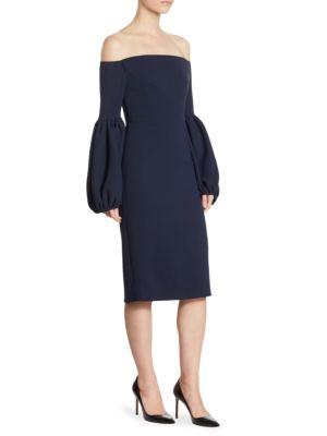 Off-The-Shoulder Bell Sleeve Wool Dress