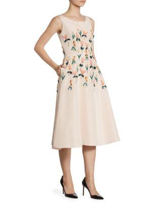 Silk Tulip Embroidered Dress