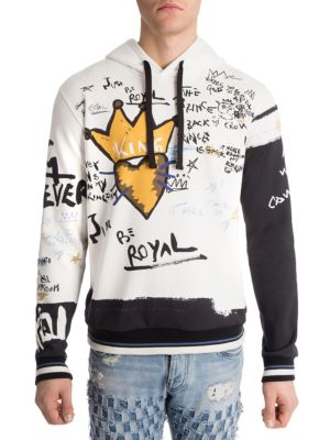 DOLCE & GABBANA Must Be Royal Printed Cotton Hoodie in White