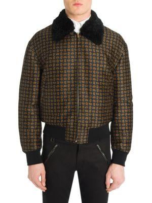 Shearling Collar Paisley Bomber Jacket