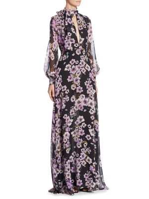 Anemone Floral Silk Maxi Dress