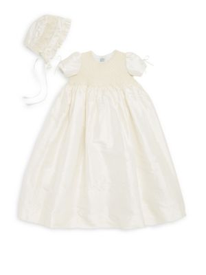 Baby's Two-Piece Pearl Silk Christening Gown & Bonnet Set