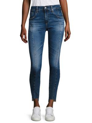 Farrah High-Rise Pintuck Step Hem Skinny Jeans 0400094821435
