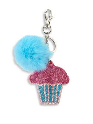 Cupcake & Fox Fur Pom-Pom Keychain
