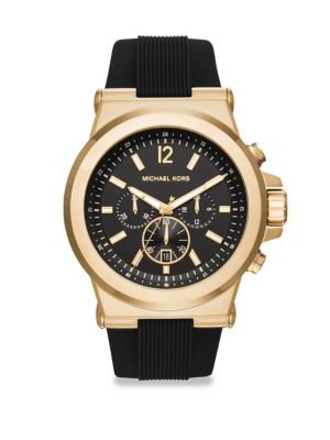 Chronograph Dylan Goldtone Silicone Strap Watch
