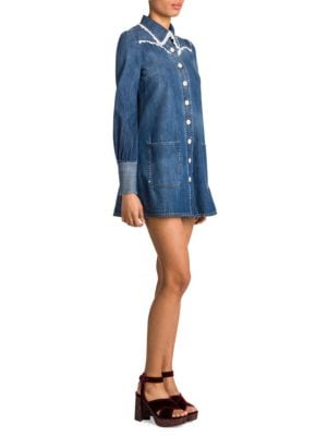 Lace-Trimmed Denim Shirtdress