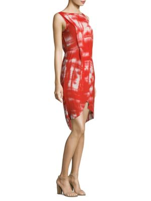 Printed Wrap High-Low Sheath Dress