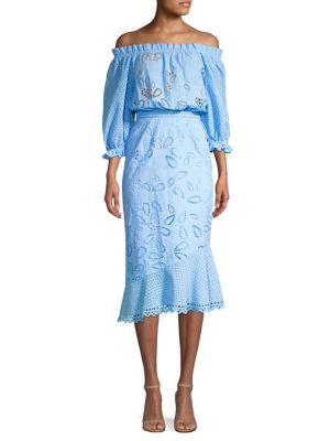 Grace Anglaise Cotton Off-The-Shoulder Dress
