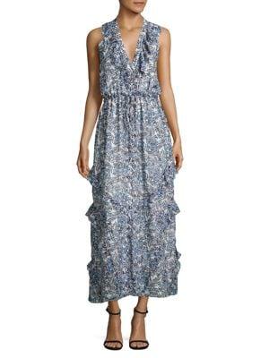 Lizzie Ruffled Silk Maxi Dress