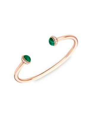 Possession Diamond, Malachite & 18K Rose Gold Open Bangle