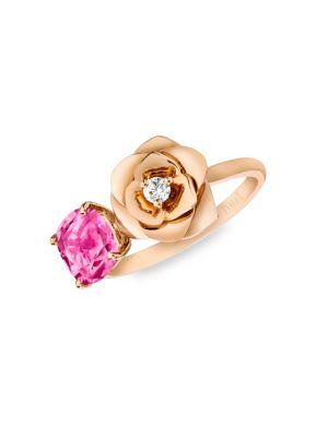 Rose Diamond, Tourmaline & 18K Rose Gold Ring