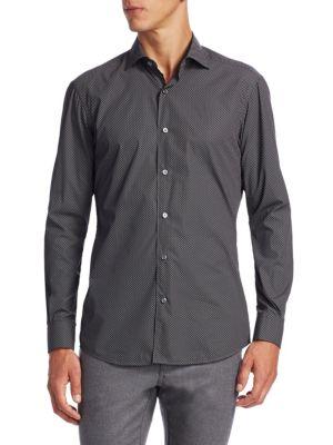 Diamond Cotton Casual Button-Down Shirt