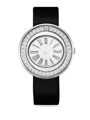 Possession Diamond, 18K White Gold & Satin Strap Bracelet Watch