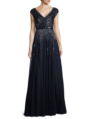Beaded Pleated Gown