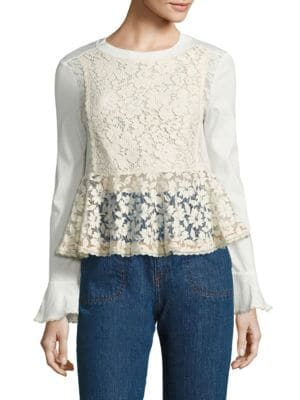 Lace-Front Peplum Top