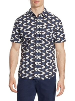 MADISON SUPPLY Printed Short-Sleeve Button-Down Shirt