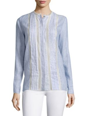 Buffy Lace-Inset Linen Blouse by Elie Tahari