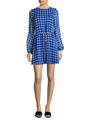 Gingham Silk Mini Dress