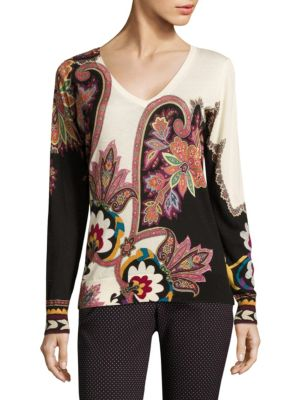 Silk & Cashmere Paisley Pullover