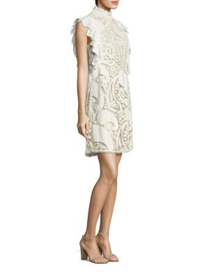 Ruffled Paisley Lace Dress