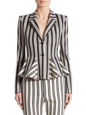 Clary Striped Godet Wool & Cotton Jacket