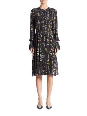 Leighton Belted Garden-Print Silk Shirtdress