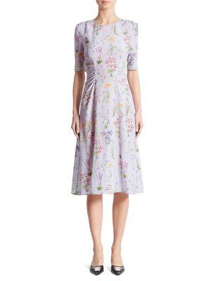 Sylvia Cinched Garden-Print Silk Dress