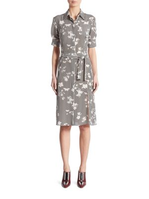 Kieran Negative Floral-Print Silk Shirtdress
