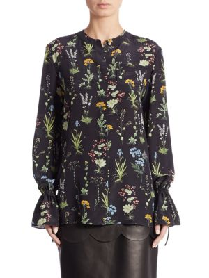 Christina Garden-Print Silk Blouse