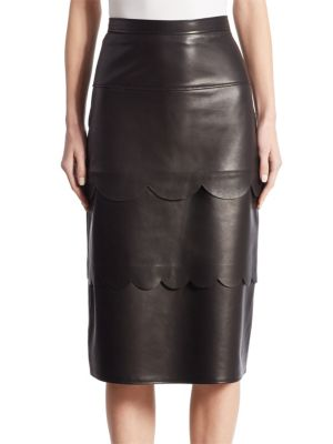 Hyacinthe Scalloped Leather Pencil Skirt