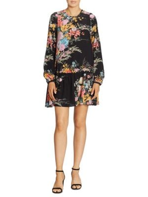 Floral-Print Silk Drop-Waist Dress