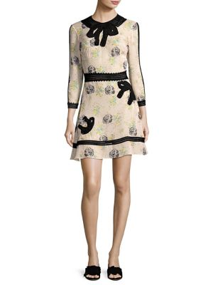 Embroidered Prairie Dog Print Dress