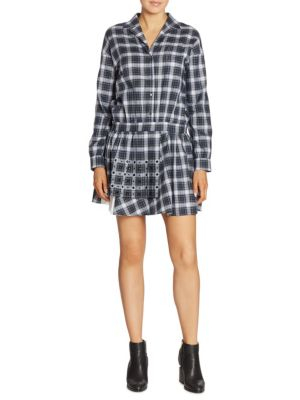 Studded Plaid Shirtdress