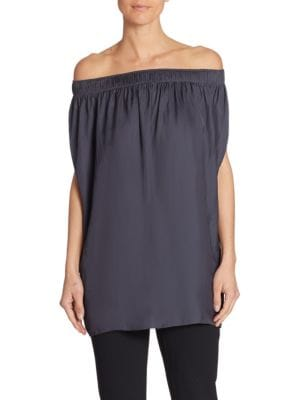 Off-the-Shoulder Satin Top by Halston Heritage