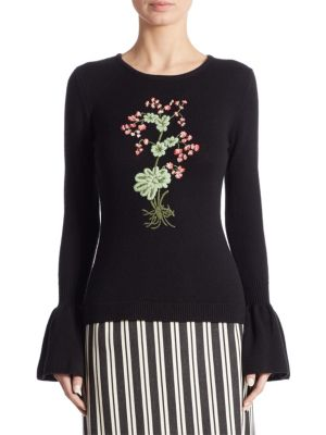 Bovary Floral-Embroidered Wool Bell Sleeve Sweater