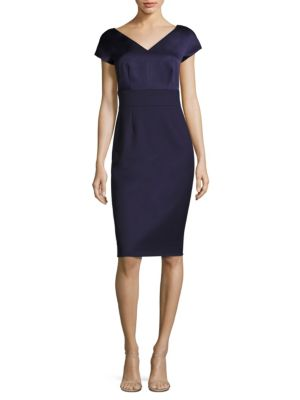 Satin & Vigrin Wool V-Neck Dress