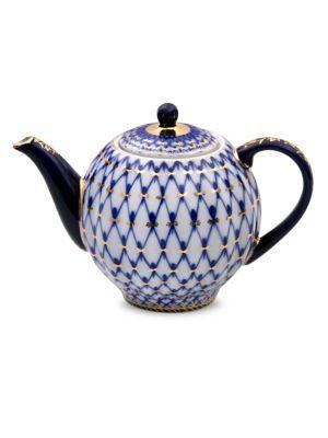 Cobalt Net Small Porcelain Tea Pot