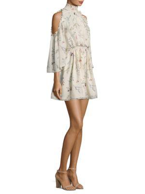 Meade Floral-Print Silk Cold-Shoulder Dress