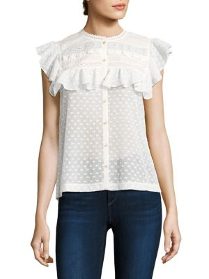Moon Dot Embroidered Top by Rebecca Taylor