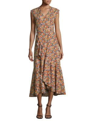 Moonlight-Print Poplin Ruffle Wrap Dress