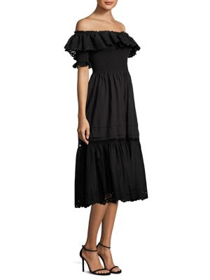Nouveau Eyelet-Trim Off-The-Shoulder Dress