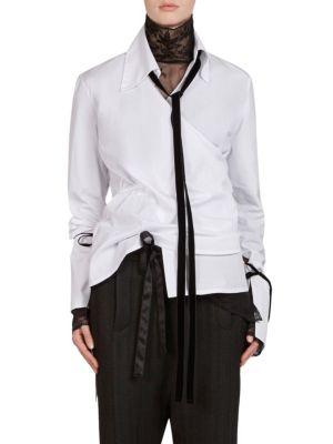 Cotton Poplin Wrap Shirt by Ann Demeulemeester