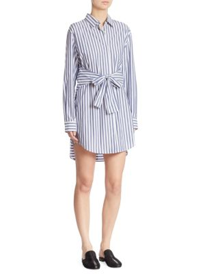 Tie-Front Striped Shirtdress