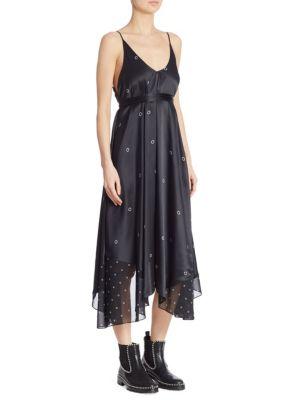 Grommet-Print Silk Slip Dress