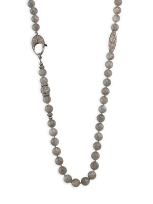 NINA GILIN Diamond & Labradorite Necklace/38""