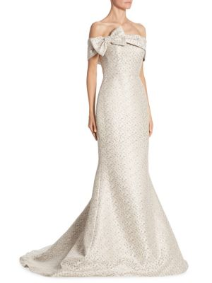 Bow Gown Platinum Off-The-Shoulder Gown