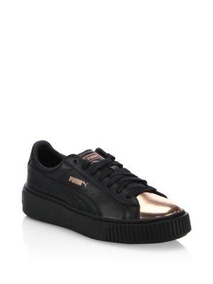 Leather Basket Platform Metallic Sneakers