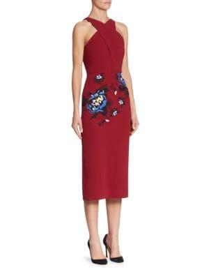 Maxton Floral-Embroidered Midi Dress